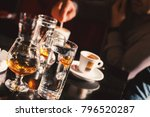 glasses of alcohol drink and... | Shutterstock . vector #796520287
