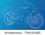 blueprint sport bike. eps10... | Shutterstock .eps vector #796526383