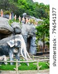 statues of elephants and monks... | Shutterstock . vector #796541377