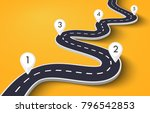 winding road on a white... | Shutterstock . vector #796542853