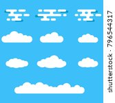 clouds icon set. different... | Shutterstock .eps vector #796544317