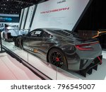 Small photo of DETROIT, US - JANUARY 15, 2018: Acura IMSA GT3 race car on display during the North American International Auto Show at the Cobo Center in downtown Detroit.