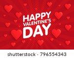 happy valentine's day vintage... | Shutterstock .eps vector #796554343