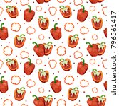 seamless pattern with red... | Shutterstock . vector #796561417