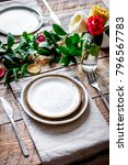 ceramic tableware top view on... | Shutterstock . vector #796567783