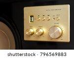 close up golden volume knob of... | Shutterstock . vector #796569883