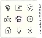 web interface line icons set... | Shutterstock .eps vector #796572943