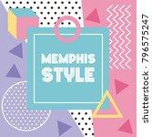 memphis style pattern banner... | Shutterstock .eps vector #796575247