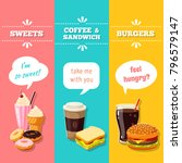 set of 3 vertical fastfood... | Shutterstock . vector #796579147