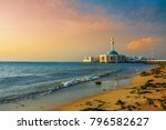 Seashore Mosque With Sunset...