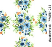 floral watercolor seamless... | Shutterstock . vector #796584253
