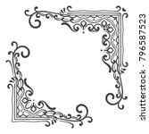 set of vintage corners on white ... | Shutterstock .eps vector #796587523
