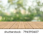 empty wood table top on nature... | Shutterstock . vector #796593607