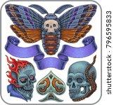 hand drawn tattoo of huge moth... | Shutterstock .eps vector #796595833