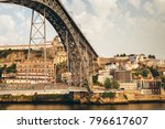 view of oporto of bridge with... | Shutterstock . vector #796617607