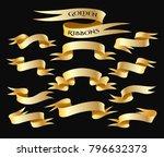 set of golden ribbon isolated... | Shutterstock . vector #796632373