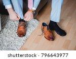 getting ready groom wedding... | Shutterstock . vector #796643977