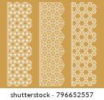 vector set of line borders with ... | Shutterstock .eps vector #796652557