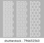vector set of line borders with ... | Shutterstock .eps vector #796652563