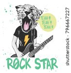 hand drawn tiger playing guitar ... | Shutterstock .eps vector #796667227
