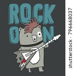 hand drawn funny bear playing... | Shutterstock .eps vector #796668037