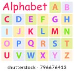multycolored alphabet with 26... | Shutterstock . vector #796676413