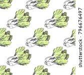 green lettuce on white endless... | Shutterstock . vector #796676497
