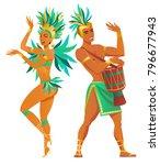 set of brazilian samba dancers. ...   Shutterstock .eps vector #796677943