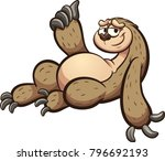 cartoon sloth lying down with... | Shutterstock .eps vector #796692193