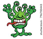 silly alien monster creature... | Shutterstock .eps vector #796700443