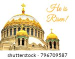 holiday card for easter with... | Shutterstock . vector #796709587