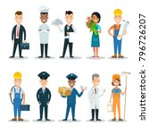 flat style professional people...   Shutterstock .eps vector #796726207