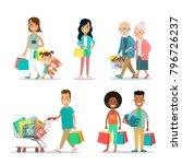 flat happy family shopping... | Shutterstock .eps vector #796726237