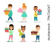 happy children birthday holiday ... | Shutterstock .eps vector #796726267