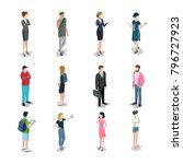 flat isometric casual fashion... | Shutterstock .eps vector #796727923