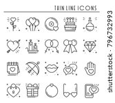 love line icons set. happy... | Shutterstock .eps vector #796732993