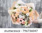 beautiful luxury bouquet of...   Shutterstock . vector #796736047