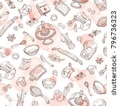 baking doodle background.... | Shutterstock .eps vector #796736323
