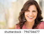 beautiful mature woman smiling. | Shutterstock . vector #796736677