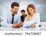 young business people working... | Shutterstock . vector #796738087