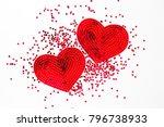 fashion sequin heart. ... | Shutterstock . vector #796738933