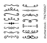 hand drawn dividers  border... | Shutterstock .eps vector #796740067