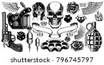set of tattoo art. black and... | Shutterstock .eps vector #796745797