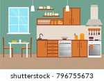 kitchen with furniture. cozy... | Shutterstock .eps vector #796755673