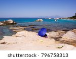beach umbrealla on greek coast. ... | Shutterstock . vector #796758313
