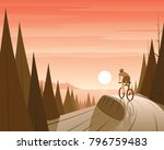 mountain bike riding in forest... | Shutterstock .eps vector #796759483