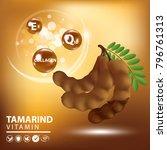 tamarind collagen vitamin skin... | Shutterstock .eps vector #796761313