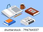 isometric 3d illustration books ... | Shutterstock . vector #796764337