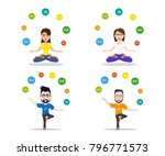 programmers joggling with... | Shutterstock .eps vector #796771573