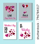valentines day greeting cards ... | Shutterstock .eps vector #796784317